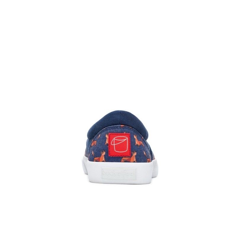 Bucketfeet Foxy Navy Low Top Canvas Slip On Men'S Shoessize 8