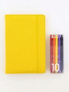 Kaco Memory Yellow A5 Notebook With Folder & Pure Soft Touch Gel Pen [10 Piece]