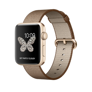 Apple Watch Series 2 42mm Gold Aluminium Case with Toasted Coffee/Caramel Woven Nylon Band
