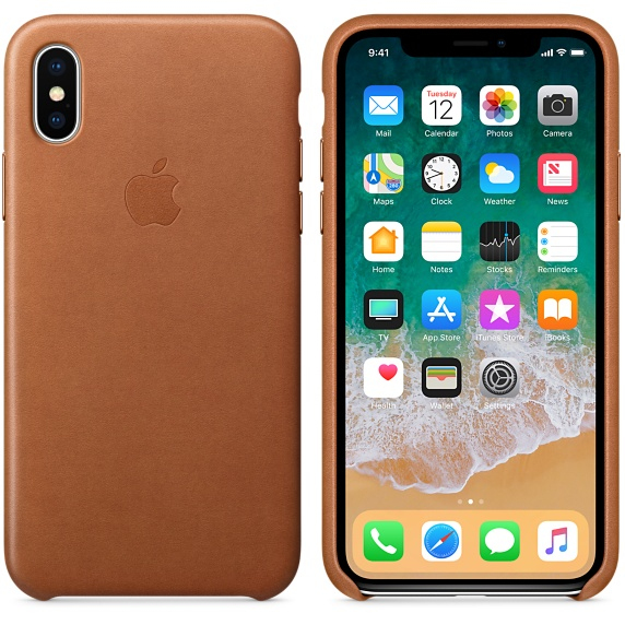 save off 12576 0d1a0 Apple Leather Case Saddle Brown for iPhone X