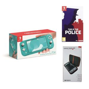 Nintendo Switch Lite Turquoise + This is the Police + Sparkfox Compact Travel Case Case