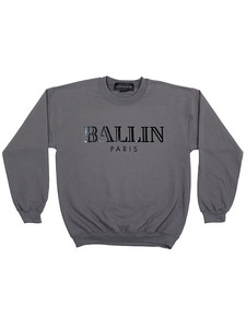 Alex & Chloe Ballin Paris Heather Grey/Black Unisex Jumper