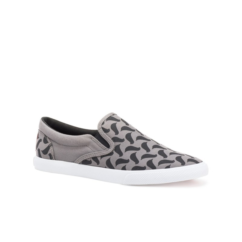 Bucketfeet Birds Charcoal Low Top Canvas Slip On Women'S Shoes Size 8