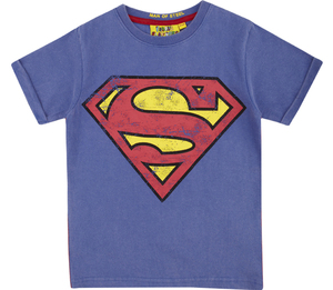 DC Comics Superman Logo Vintage Wash Blue Boys T-Shirt