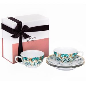 Silsal Mirrors Emerald Green Teacups in Gift Box [Set of 2]