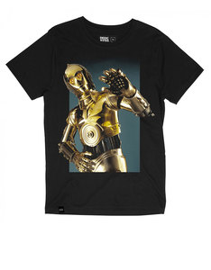 Dedicated Star Wars C-3Po Hello Black T-Shirt