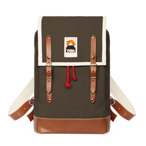 Ykra Matra Mini Leather Strap Khaki Backpack
