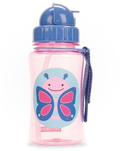 Skip Hop Zoo Straw Kids Water Bottle Butterfly 350ml