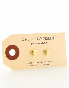 Oh Hello Friend Small Triangle Gold Earrings