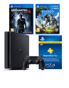 Sony PS4 1TB Black +Unchartered 4: A Thief's End +Horizon Zero Down +3 Months Ps Plus Membership [Bundle]