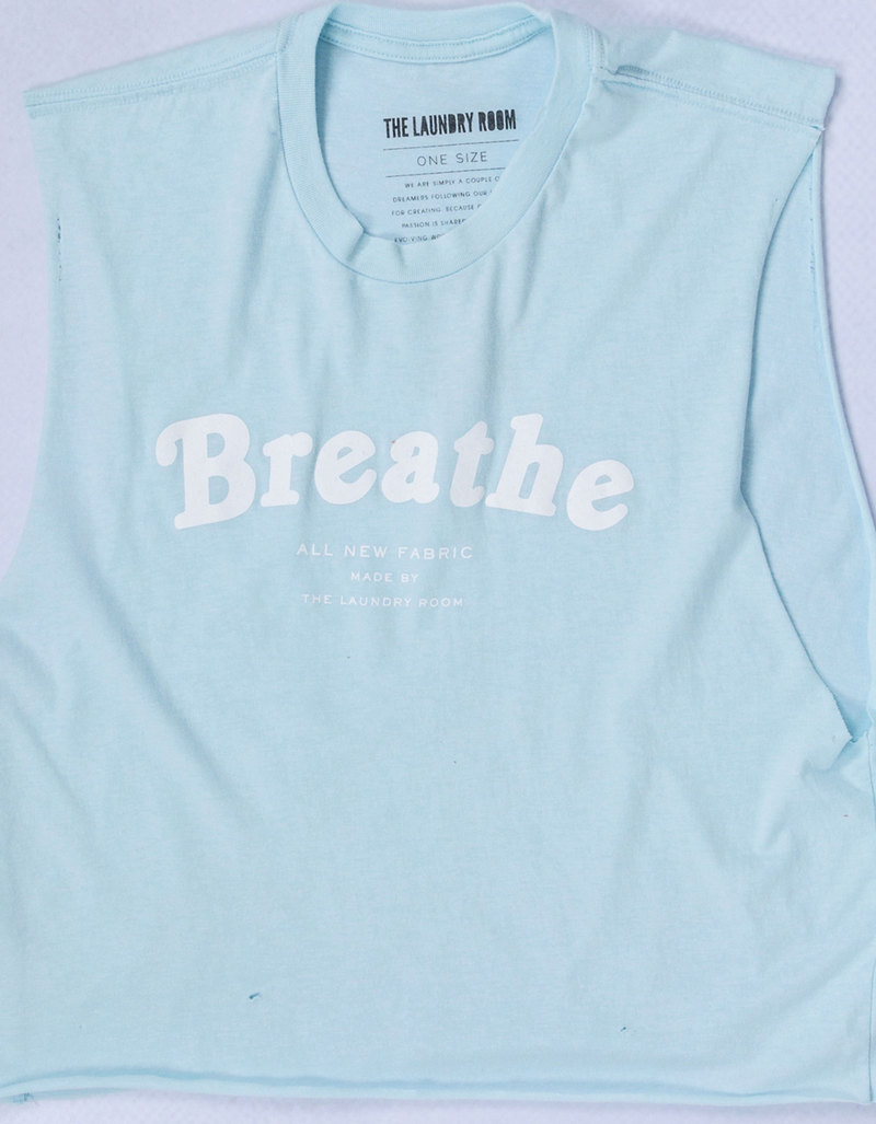 Breathe Stamp Sky Womens Cropped Muscle Tee