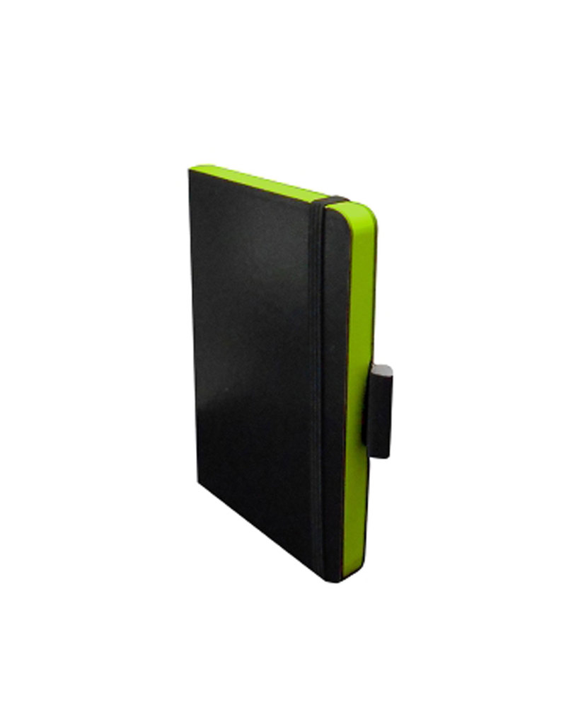 Pocket Notebook Elastic Closure 89 X 140Mm Hard Cover Ruled Green