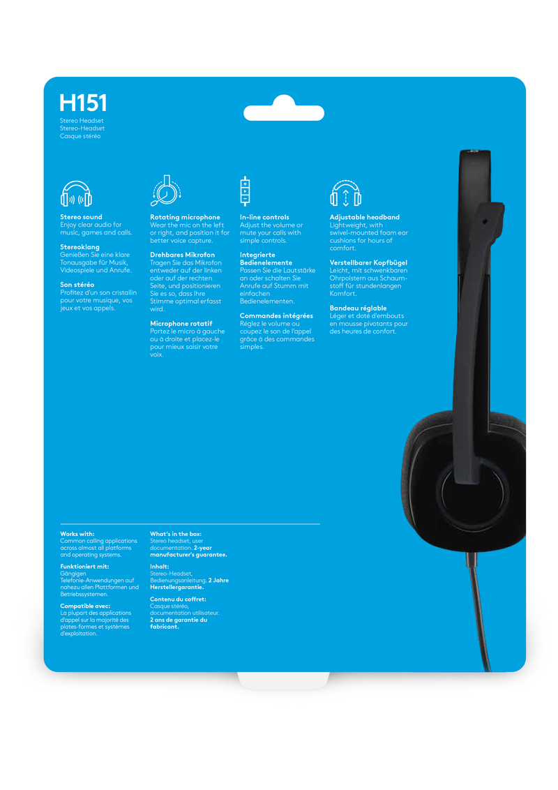 5ee21ba8996 Logitech H151 Stereo Headset | Headsets & Accessories | PC Gaming ...