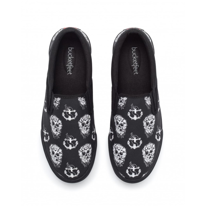 Bucketfeet Skull And Anchor Black Low Top Canvas Slip  On Men'S Shoes Size 8