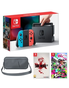 Nintendo Switch 32GB Console with Neon Joy-Con Controller + Splatoon 2 + Sine Mora EX + Travel Bag