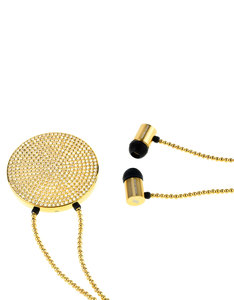 J'Adore Adorn Bare Your Beauty Gold Crystals & Beads Round Pendant In-Ear Earphones