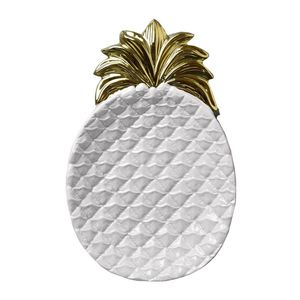 Candlelight Pineapple Dish White/Gold Large [33 x 21.3 cm]