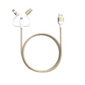 Adam Elements Peak Ii Trio Gold Mfi/Type-C/Micro-USB Cable 120cm