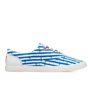 Bucketfeet Happy Accident Blue/White Low Top Women's Canvas Lace-Ups