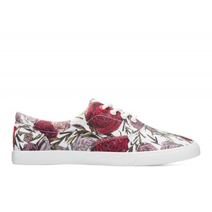 Bucketfeet Geometric Roses White/Red Low Top Women's' Canvas Lace-Ups