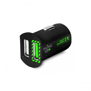 Puro USB 2.4A 2-Port Black Mini Fast Car Charger