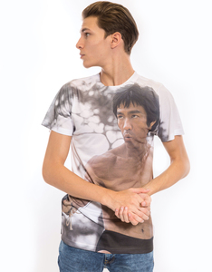 Bruce Lee Battle Ready White Adult Poly Crew Men's T-Shirt