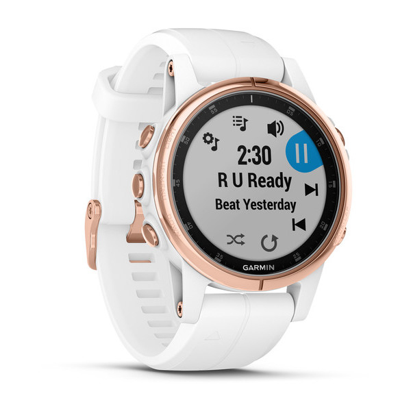 Garmin Fenix 5S Plus Sapphire Rose Gold with White Band Smart Watch