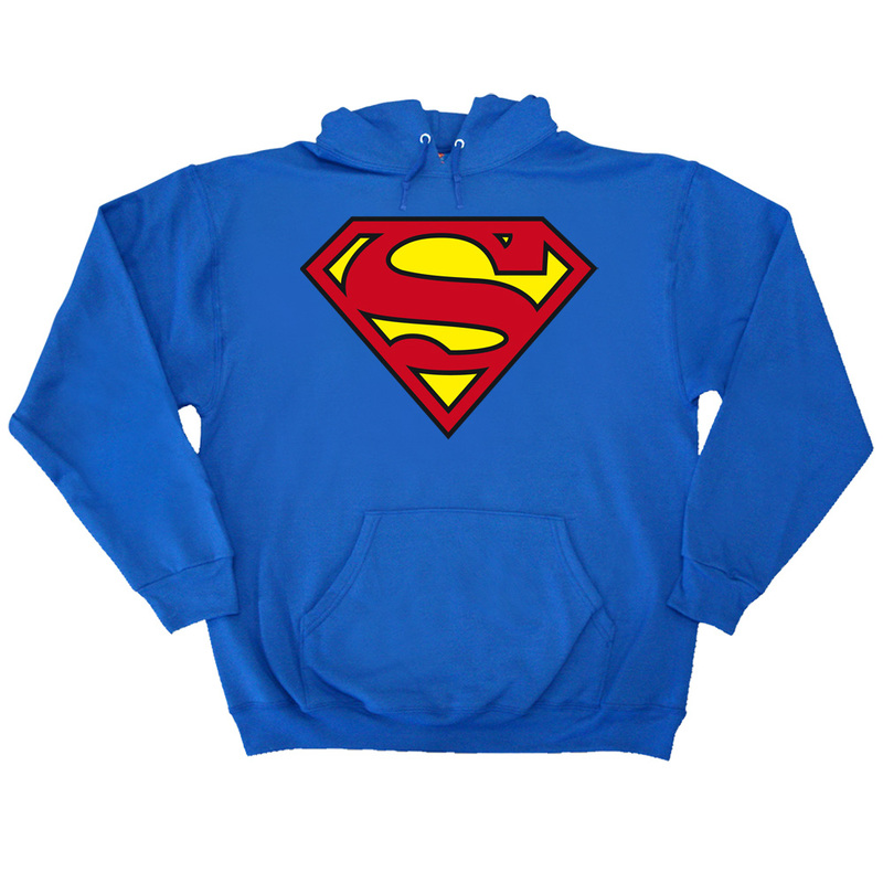 Superman Classic Logo Men's Pullover Hoodie Royal L