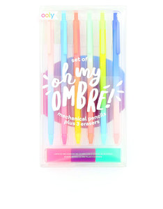 Ooly Oh My Ombre Mechanical Pencils And Erasers [Set of 6]