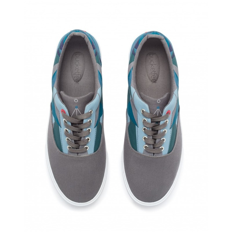 Bucketfeet Sea Of Data Charcoal/Teal Low Top Canvas Lace Men'S Shoes Size 7
