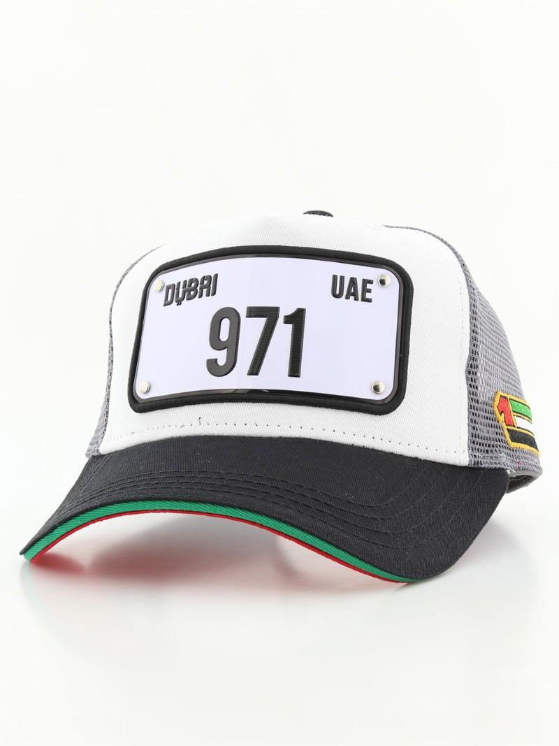 3dd63a322be Raqam New Dubai Plate No. 971 Model 1 Grey Black White Unisex Cap ...