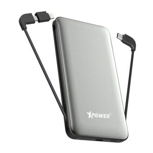 XPower PD10X 10000mAh 3-in-1 Built-In Cable Power Bank  Grey