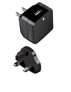 Energea TraveLite QC 2.0 USB Matte Black Wall Charger UK