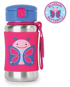 Skip Hop Zoo Stainless Steel Straw Kids Water Bottle Butterfly 350ml