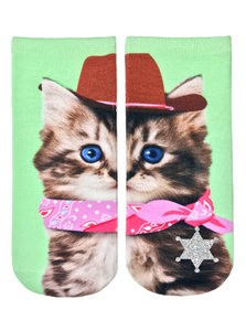 Living Royal Cowboy Kitty Glitter Women's Ankle Socks