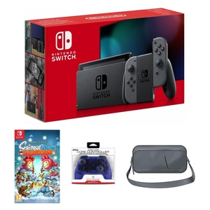 Nintendo Switch Grey Joy-Con + Scribblenauts Showdown + Nyko Core Blue Wireless Controller + Sparkfox Travel Bag