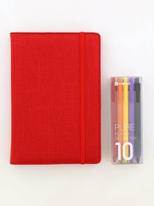 Kaco Memory Red A5 Notebook With Folder & Pure Soft Touch Gel Pen [10 Piece]