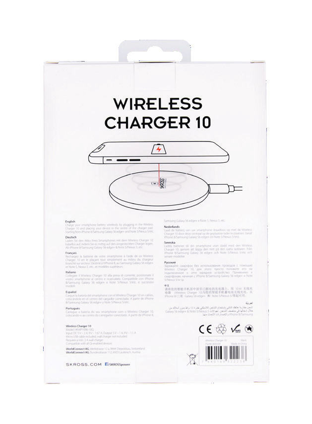 Skross 10W Wireless Mobile Device Charger Black