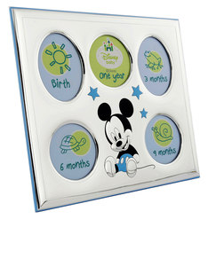 Disney Mickey My First Year Photo Frame Silver/Blue