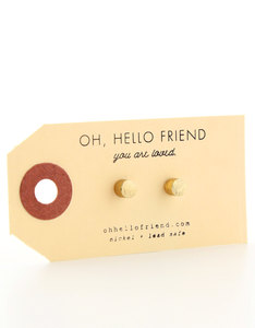 Oh Hello Friend Cylinder Gold Earrings