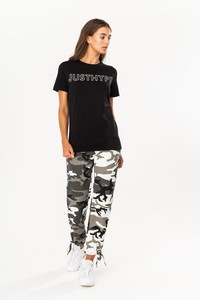 Hype Justhype Women's T-Shirt Black/White
