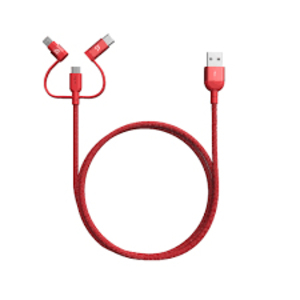 Adam Elements Peak Ii Trio Red Mfi/Type-C/Micro-USB Cable 120cm