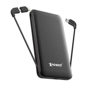 XPower PD10X 10000mAh 3-in-1 Built-In Cable Power Bank  Black