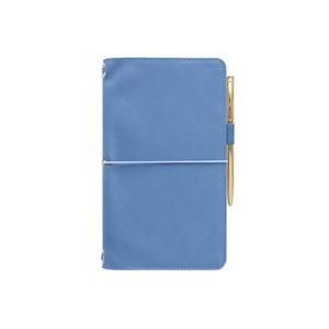 Designworks Leatherette Folio With Pen And Notebook Cornflower Blue With Birdie Fabric Liner