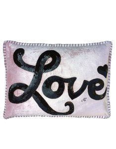 JAN CONSTANTINE GLAM ROCK SEQUIN LOVE CUSHION VELVET PINK