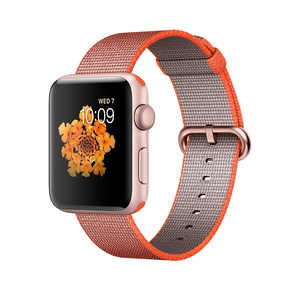 Apple Watch Series 2 42mm Rose Gold Aluminium Case with Orange/Anthracite Woven Nylon Band