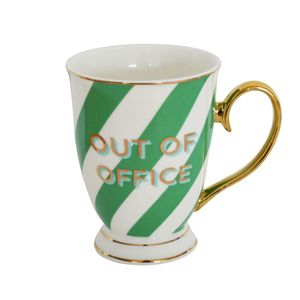 Typography Mug Green Stripes Out Of Office