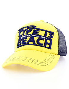 B180 Life is Better on a Beach Yellow/Blue Unisex Cap