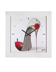 Lowell High Heel Strawberry Quartz Clock With White Frame