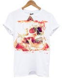 Distinkt Youth Geometric Skull White Unisex T-Shirt L